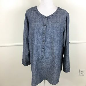 Eileen Fisher Chambray Long Sleeve Blouse Women 1X